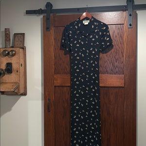 Vintage Alexandra Lee black floral dress size 10
